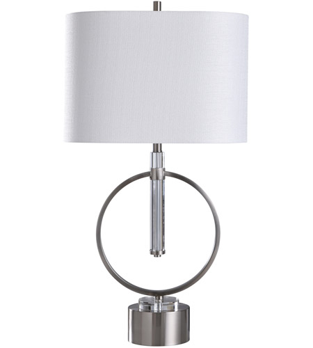 StyleCraft Home Collection L317665DS Signature 36 inch 100 watt Brushed Steel and Clear Table Lamp Portable Light photo thumbnail