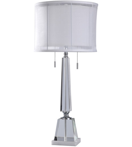 Chrome and Clear Metal Table Lamps