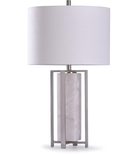StyleCraft Home Collection L318317DS Abyaz 12 inch 150 watt Marble and Steel Table Lamp Portable Light photo thumbnail
