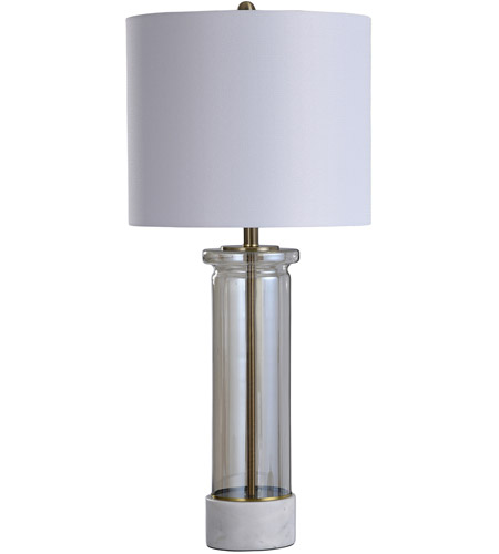 StyleCraft Home Collection L318419DS Royal Gate 13 inch 150 watt White and Smoked Table Lamp Portable Light photo thumbnail
