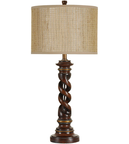 StyleCraft Home Collection L32113DS Signature 32 inch 100 watt Walnut Ridge and Barclay Brass Table Lamp Portable Light photo thumbnail
