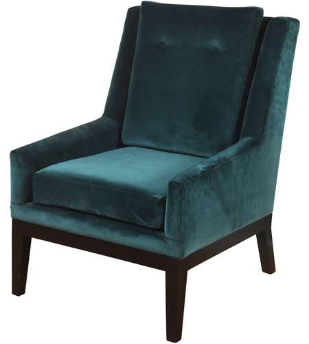 Beau StyleCraft Home Collection SF25009DS Signature Dark Espresso Brown And Teal Blue  Chair Photo