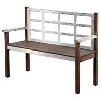 Signature Distressed White Bench