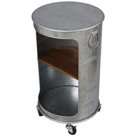 StyleCraft Home Collection AF42518DS Church St. 27 X 16 inch Galvanized Metal and Warm Brown Side Table