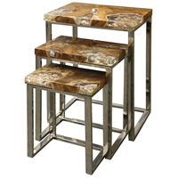 StyleCraft Home Collection IAF139190DS Sea Bed 27 X 21 inch Stainless Steel Legs With Teak Wood Nesting Table