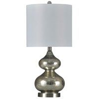 StyleCraft Home Collection L10299ADS Beacon 11 inch 100 watt Mercury Glass and Brushed Steel Table Lamp Portable Light