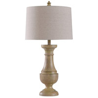 StyleCraft Home Collection L10340DS Quail 10 inch 100 watt Light Wood and Oatmeal Table Lamp Portable Light