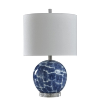 StyleCraft Home Collection L14429DS Signature 22 inch 60 watt Blue And White Table Lamp Portable Light