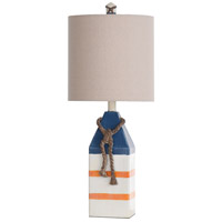 StyleCraft Home Collection L27008DS Signature 25 inch 100 watt Blue and Orange Stripe Table Lamp Portable Light