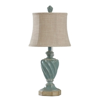 StyleCraft Home Collection L27344ADS Signature 24 inch 40 watt Distressed Ocean Blue With Light Brown Table Lamp Portable Light
