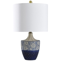 StyleCraft Home Collection L28230DS Signature 23 inch 60 watt Cream and Blue Table Lamp Portable Light