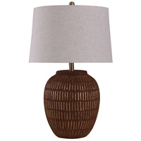 StyleCraft Home Collection L29529DS Stoneside 11 inch 150 watt Rustic Fired Gold and Oatmeal Table Lamp Portable Light
