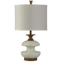 StyleCraft Home Collection L29566DS Signature 3 inch 150 watt Stained Wood and White Table Lamp Portable Light