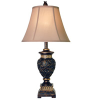 StyleCraft Home Collection L3-1124DS Signature 29 inch 100 watt Dark Blue and Gold Table Lamp Portable Light