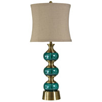 StyleCraft Home Collection L310023DS Signature 37 inch 150 watt Brass and Teal Table Lamp Portable Light