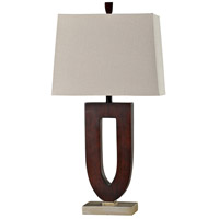 StyleCraft Home Collection L310524DS Signature 33 inch 150 watt Stained Wood and Chrome Table Lamp Portable Light