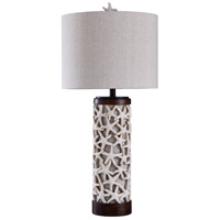Signature 34 inch 100 watt Sand Shell and Bronze with White Table Lamp Portable Light