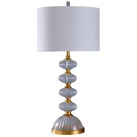Signature 36 inch 150 watt Gold Leaf and Clear with White Table Lamp Portable Light