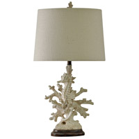 StyleCraft Home Collection L310712DS Signature 32 inch 150 watt Distressed White Coral Table Lamp Portable Light