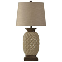 StyleCraft Home Collection L310730DS Signature 33 inch 100 watt Dark Wood and Off-White Table Lamp Portable Light