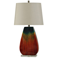 StyleCraft Home Collection L310744DS Signature 36 inch 100 watt Red and Blue Glaze Table Lamp Portable Light