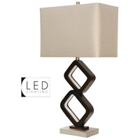 StyleCraft Home Collection L311835DS Signature 33 inch 100 watt Walnut Ridge and Brushed Steel Table Lamp Portable Light