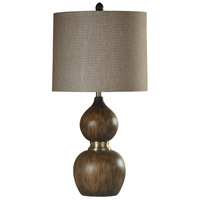 StyleCraft Home Collection L312188DS Signature 31 inch 150 watt Natural Wood and Antique Brass Table Lamp Portable Light