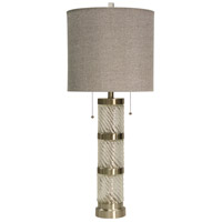 StyleCraft Home Collection L312730DS Signature 36 inch 60 watt Clear and Brushed Steel Table Lamp Portable Light