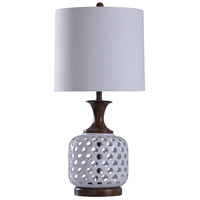 Signature 32 inch 150 watt Silver and Bronze with White Table Lamp Portable Light
