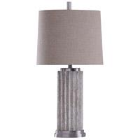 StyleCraft Home Collection L313078DS Signature 34 inch 100 watt Polished Nickel and Beige Table Lamp Portable Light