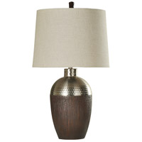 StyleCraft Home Collection L313082DS Signature 34 inch 150 watt Stained Wood and Chrome Table Lamp Portable Light photo thumbnail