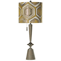 StyleCraft Home Collection L313199DS Signature 39 inch 150 watt Gray Wood and Brushed Steel Table Lamp Portable Light photo thumbnail