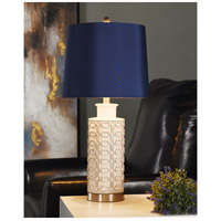 StyleCraft Home Collection L314929CDS Signature 27 inch 60 watt Cream and Blue Table Lamp Portable Light