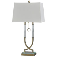 StyleCraft Home Collection L315385DS Signature 34 inch 100 watt Antique Brass and White Table Lamp Portable Light