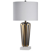StyleCraft Home Collection L315834DS Wallsey 30 inch 150 watt Brushed Brass Table Lamp Portable Light