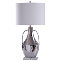 Chrome and White Styrene Table Lamps