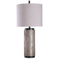 StyleCraft Home Collection L316030DS Signature 35 inch 150 watt Black and Silver with Grey Table Lamp Portable Light