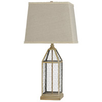 StyleCraft Home Collection L316231DS Signature 33 inch 100 watt Washed Pine and Beige Table Lamp Portable Light