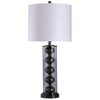 StyleCraft Home Collection L316384DS Signature 35 inch 150 watt Black Nickel and Clear with White Table Lamp Portable Light