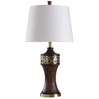 StyleCraft Home Collection L316438DS Signature 32 inch 150 watt Brown and Gold with White Table Lamp Portable Light