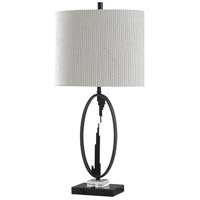 StyleCraft Home Collection L316483DS Signature 34 inch 100 watt Black and Silver with Off White Table Lamp Portable Light