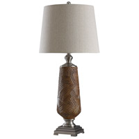 StyleCraft Home Collection L316496DS Signature 37 inch 150 watt Brown and Silver with Grey Table Lamp Portable Light
