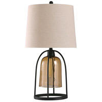 StyleCraft Home Collection L316706DS Malvern 13 inch 300 watt Amber Glass and Industrialized Metal Table Lamp Portable Light