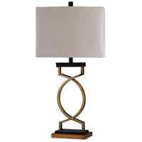 StyleCraft Home Collection L316898DS Signature 32 inch 100 watt Black and Gold with Beige Table Lamp Portable Light