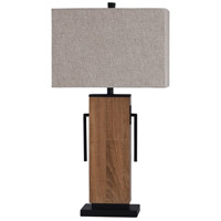 StyleCraft Home Collection L317581DS Brigg 32 inch 100 watt Black and Natural Table Lamp Portable Light