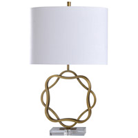 StyleCraft Home Collection L317685DS Devi 31 inch 100 watt Aged Brass and Clear Table Lamp Portable Light