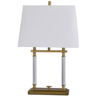 StyleCraft Home Collection L317796DS Devo 31 inch 60 watt Clear and Brass Table Lamp Portable Light