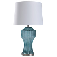 StyleCraft Home Collection L318112DS Cerulean 29 inch 150 watt Clear Cerulean Blue and Brushed Steel Table Lamp Portable Light