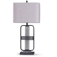 StyleCraft Home Collection L318506DS Funen 13 inch 100 watt Industrial Black and Clear Table Lamp Portable Light