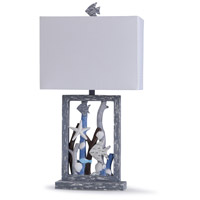 StyleCraft Home Collection L318586DS Seaford 13 inch 100 watt Blue and Multi- Neutrals Table Lamp Portable Light